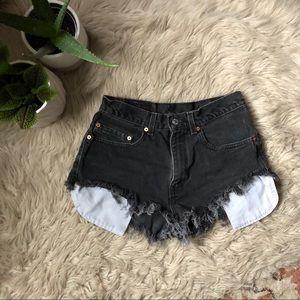 Levi's Grey High Rise Cutoff Shorts